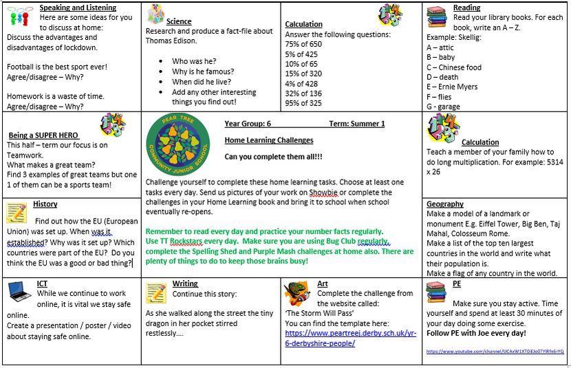 Home Learning Challenges - Summer Term Week 1 and 2