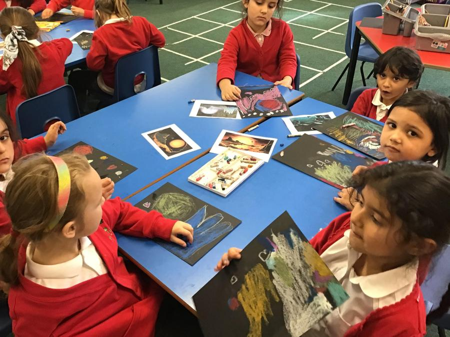 We looked at artwork created by David Hardy...
