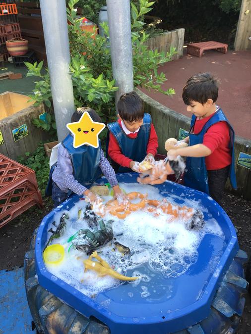 Washing the dolls!