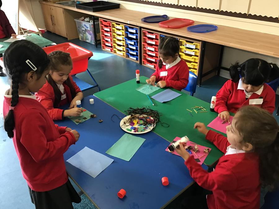 We enjoy exploring different materials to create pictures...