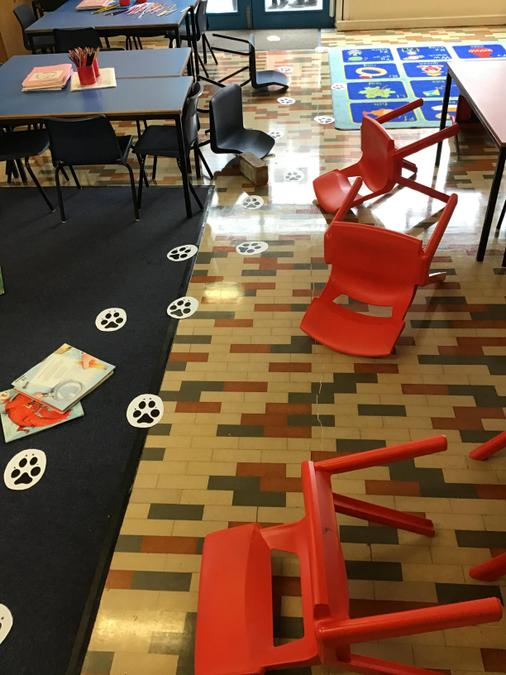 There are footprints all over the floor..