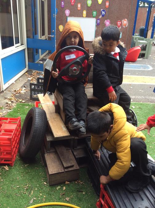 We helped to build a tractor out of different materials...