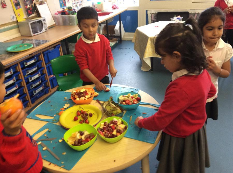 We chopped the fruit which helped our hand-eye coordination...