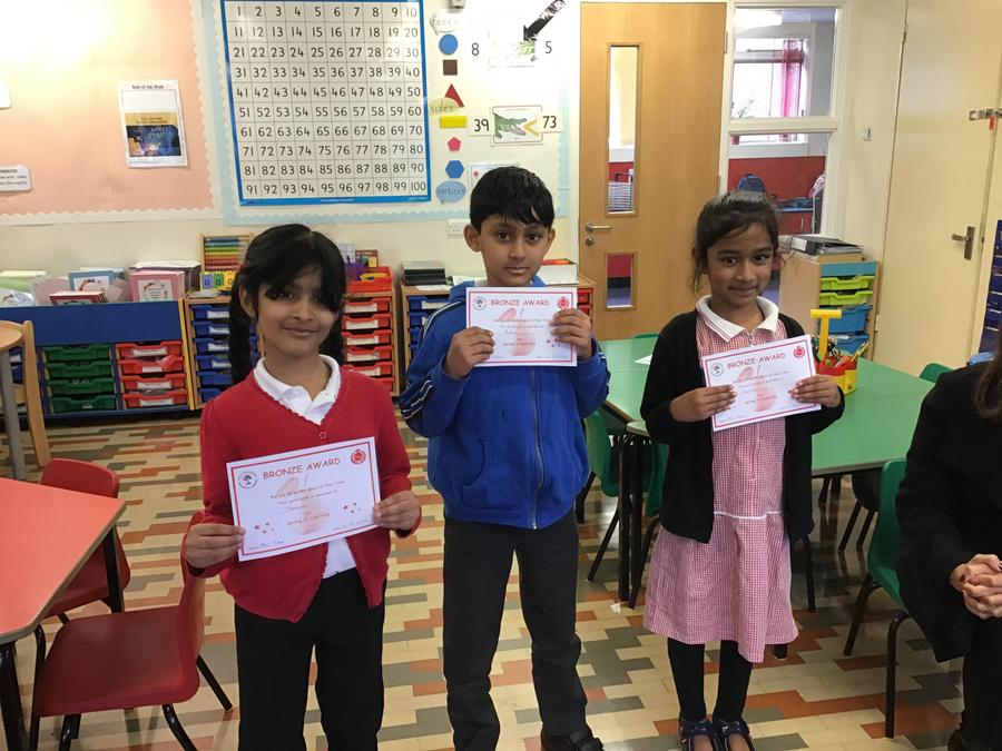 Well done to Momina, Adam and Fareeha from Willow Tree Class!