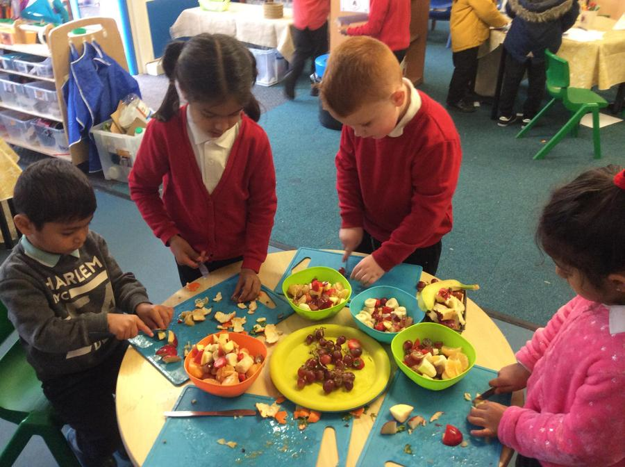 we made our own fruit salads!