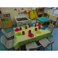 The snack area and water play area