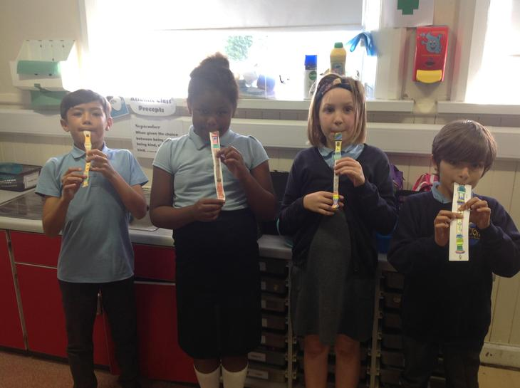 We designed our own recorder and reminded ourselves how to play using standard notation