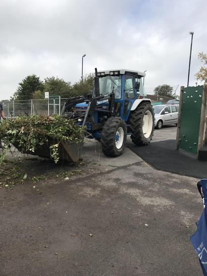 The tractor was so useful for the big tidy up!