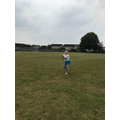 Rhea working on catching skills for PE