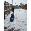 Jacob having fun in the snow.