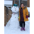 THE BIGGEST: Isabelle and her human sized snowman!