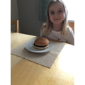 Harper's yummy burger made using her English instructions!