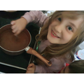 Felicity making her hot chocolate
