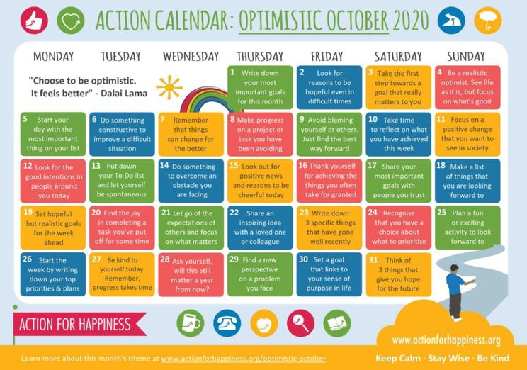 Optimistic October-calendar of well being activities and ideas
