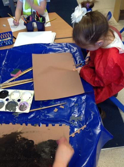 Cutting and painting the Giant's castle