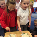 Making and stirring the porridge.