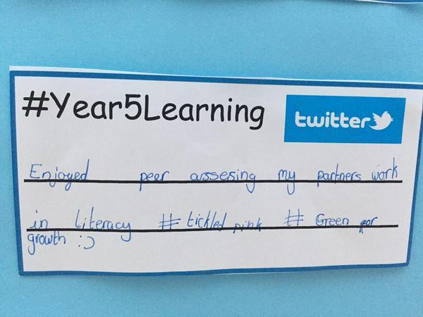Pupils using Twitter to self assess their learning