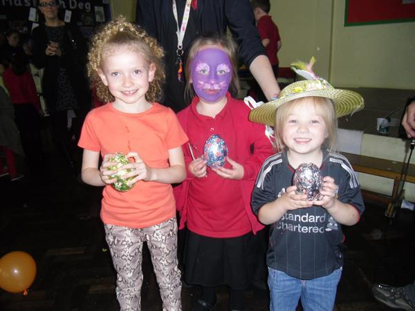 Our Easter Egg Hunt winners Laika, Jessica and Amy