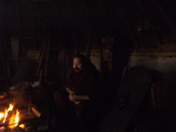 Inside the dark and smoky roundhouse
