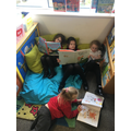 Exploring the reading corner with a nice book