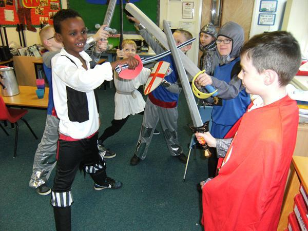 The knights brandish their weapons!