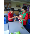We used bread to see what happens in the stomach.