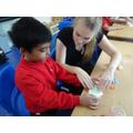 Exploring Numicon using playdough
