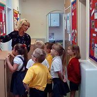 Mrs Breaker showing the Council their display