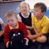 Year R children practising Calm Me Time