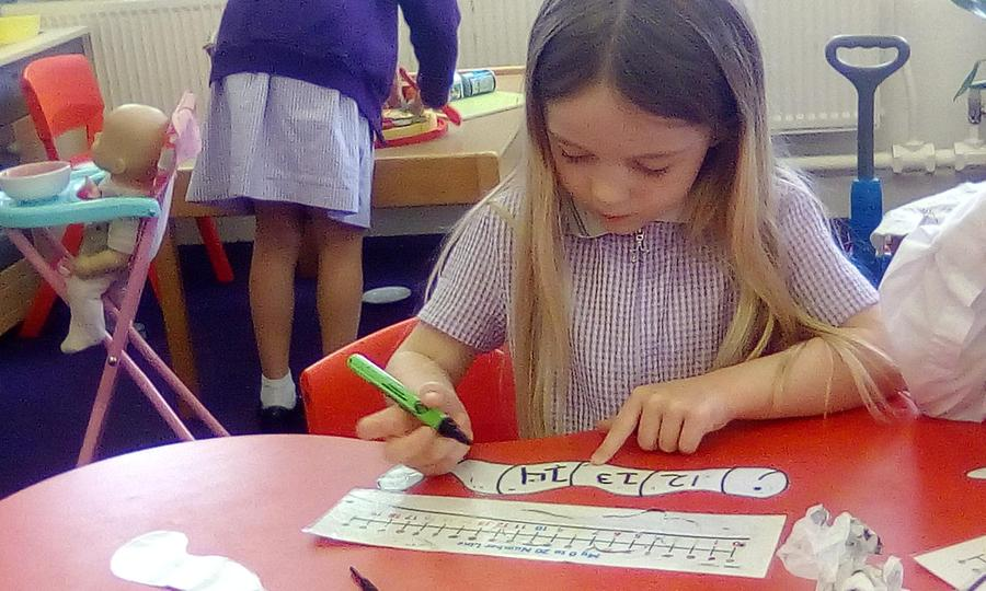 Number sequences using a number line for support