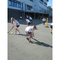 We have been learning how to play hockey with our PE coach, Dan.