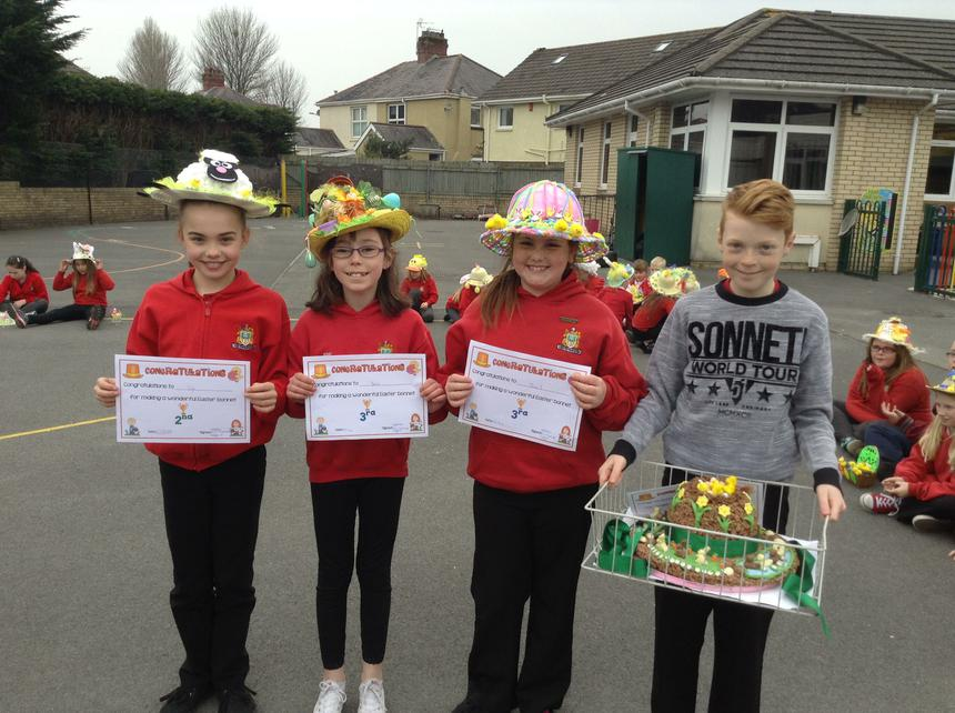 Year 6 Easter bonnet winners- da iawn pawb!