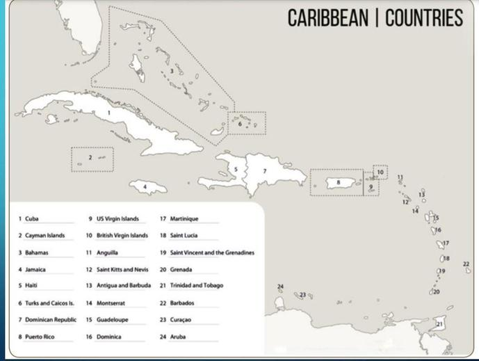 Map of the Caribbean for labelling