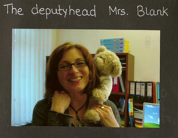 Frau Blank (Deputy Head) with Pedr Bear.