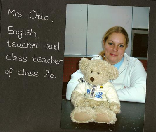 Frau Otto looking after Pedr bear.