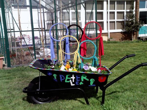 Our olympic wheelbarrow entry for the RHS flower