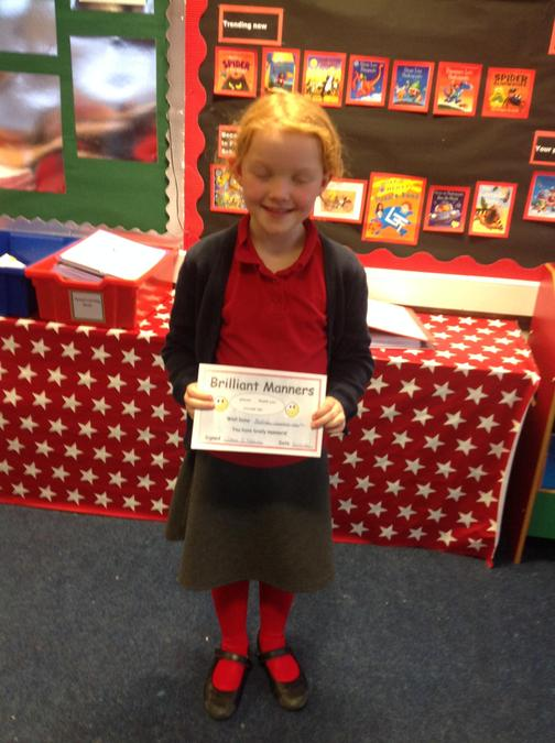 Well done Tilly for super manners.