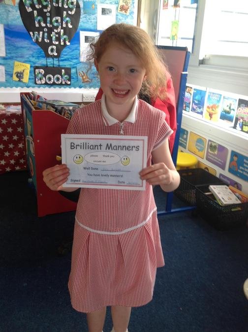 Evie has shown fantastic manners this week!