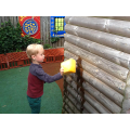 Mark making outside with sponges and water