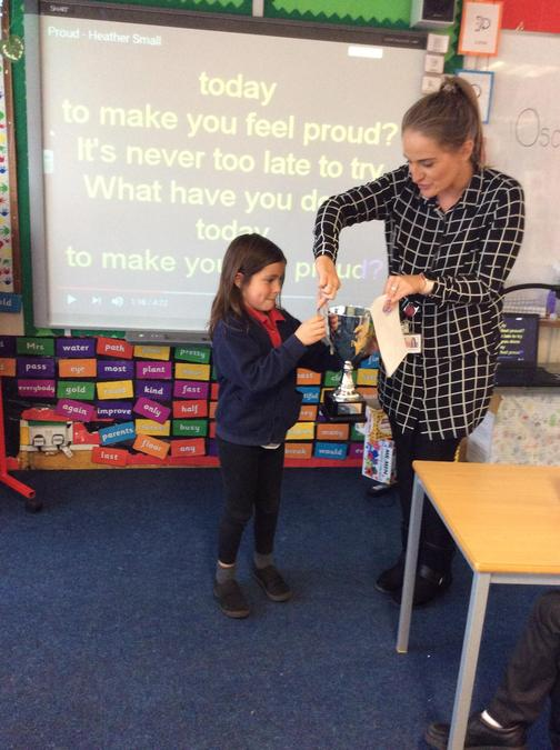 Willow gets the trophy this week for a super week of working hard and showing kindness.