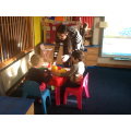 Enjoying stories and story activities.