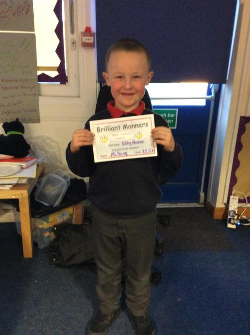 Fantastic manners all week from Bobby, you never forget to say please and thank you.