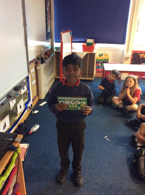 Well done to Shayan for completing your sticker chart. Great work.
