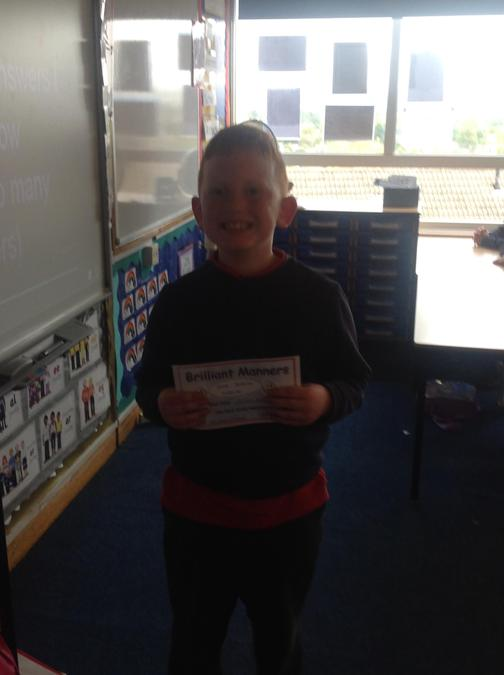 Joseph was our manners superstar this week for always being polite.