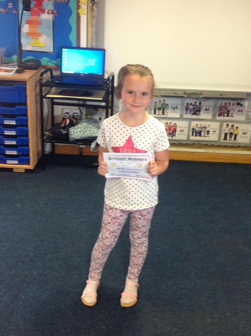 Nevaeh was recognised for her super manners this week, always remembering to be polite.