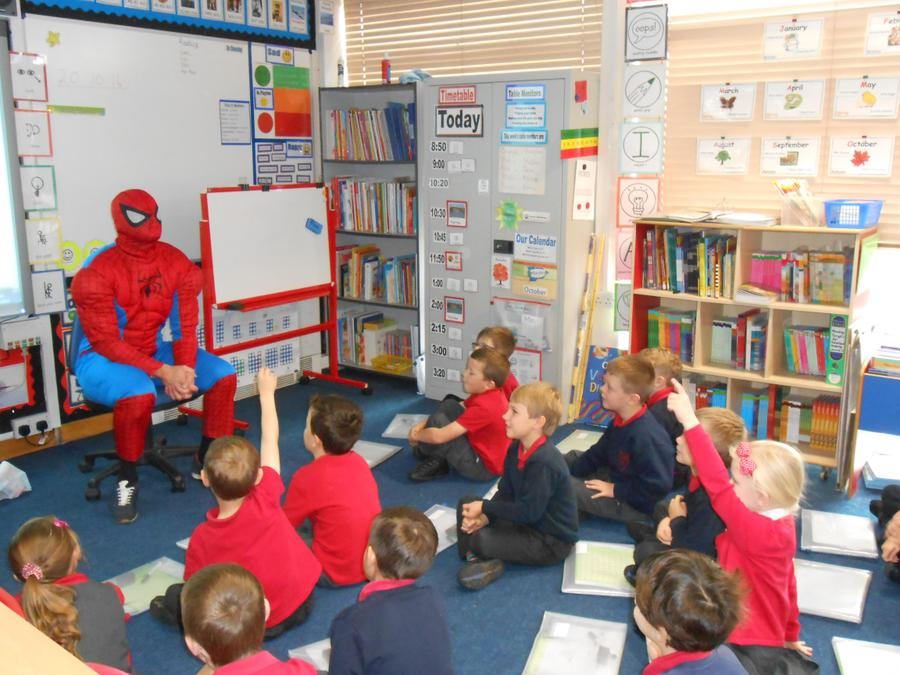 Spiderman asked the children about Nottingham.