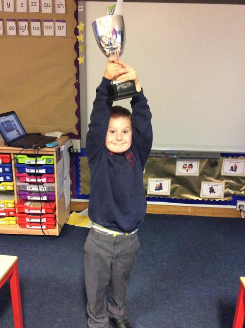 Jacob gets the trophy for having a great attitude to learning, especially in English!