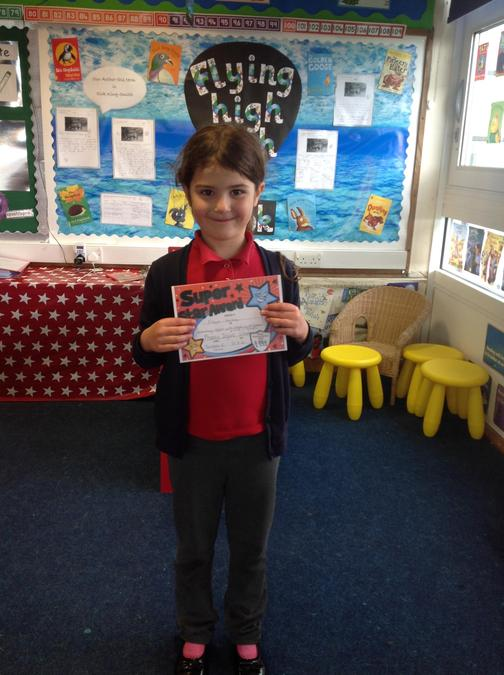 Keep up the hard work on your reading Freya! Well done!