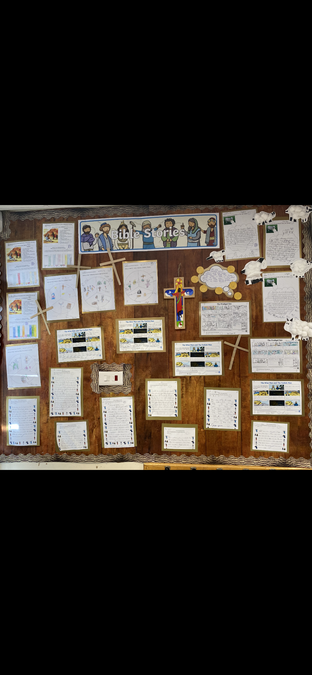 Our display showing all our writing and drawing about Jesus and the bible.