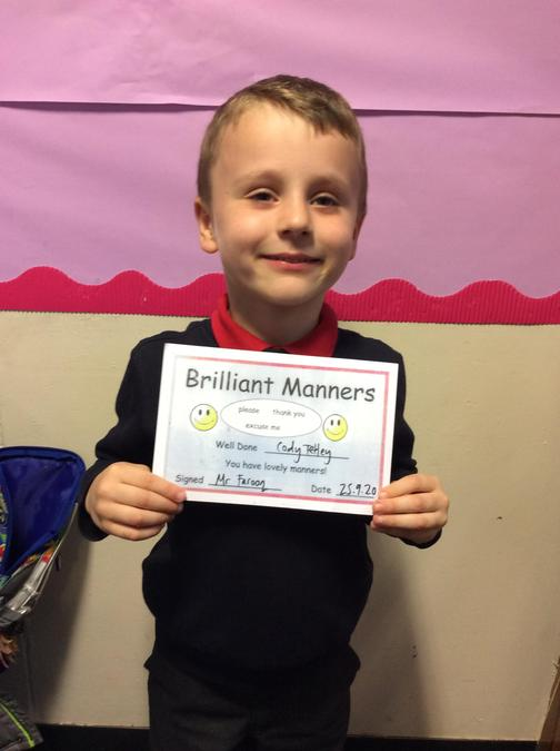 Well done Cody, you have shown brilliant manners all week.